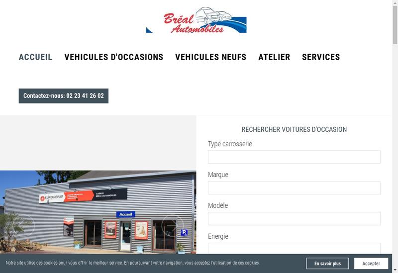 Capture d'écran du site de Breal Automobiles