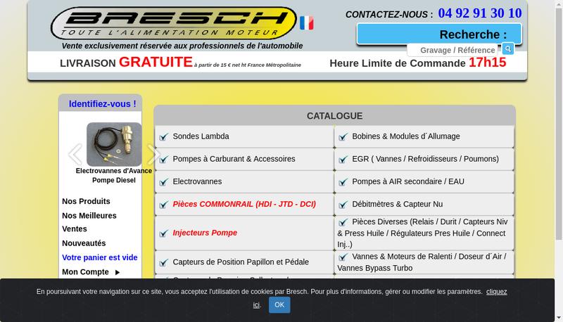 Capture d'écran du site de Bresch