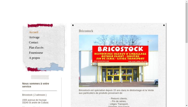 Capture d'écran du site de Brico Stock