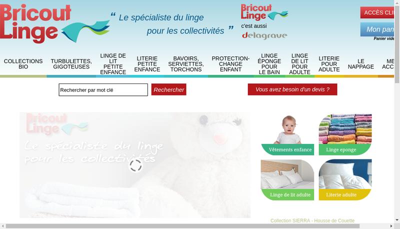 Capture d'écran du site de Bricout Linge