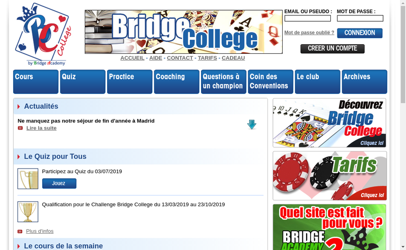 Capture d'écran du site de Bridge College