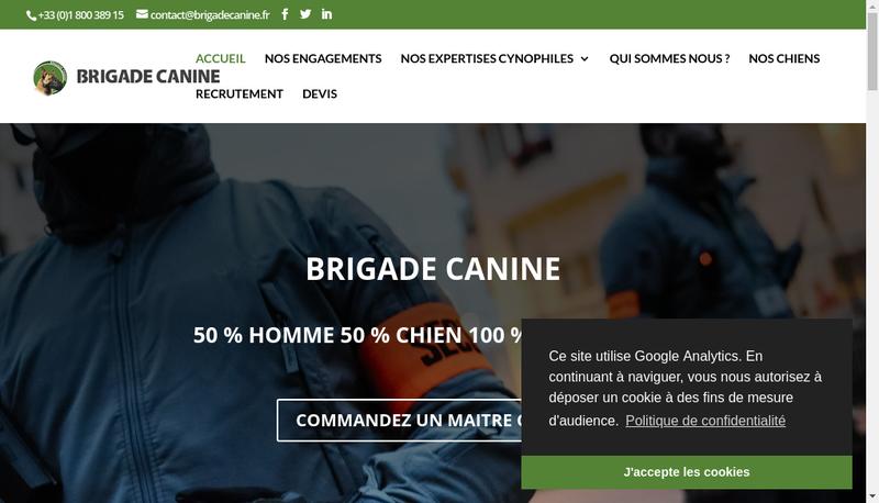 Capture d'écran du site de Brigade Canine Prive