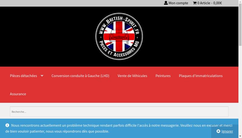 Capture d'écran du site de British Spirit