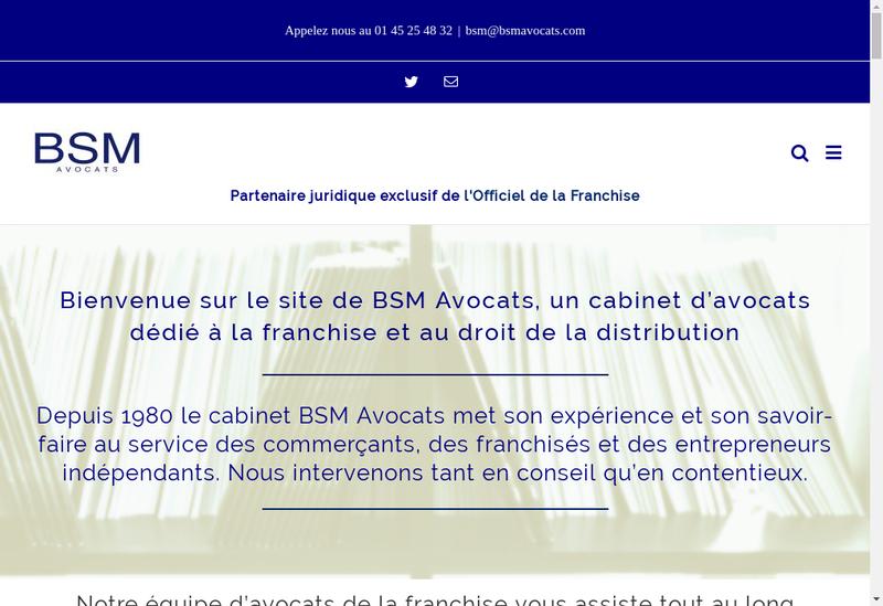 Capture d'écran du site de BSM Avocats