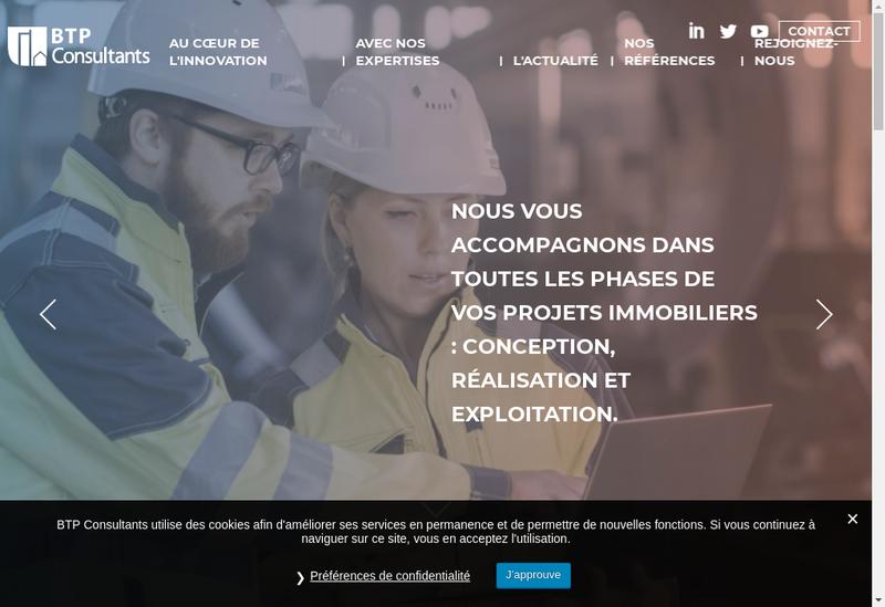 Capture d'écran du site de Btp Consultants