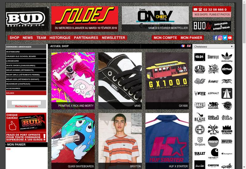 Capture d'écran du site de Bud Skateshop