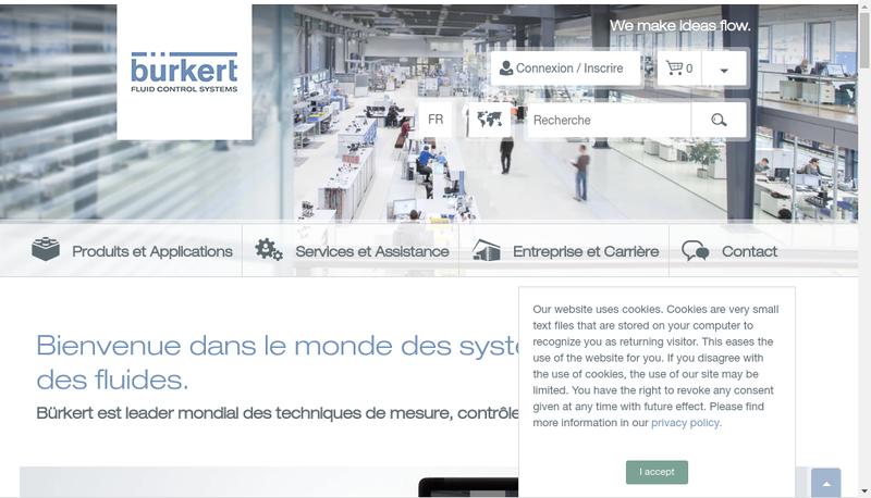 Capture d'écran du site de Burkert Contromatic