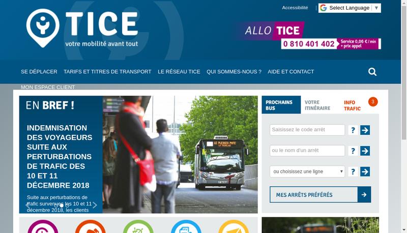 Capture d'écran du site de Transports Intercommunaux Centre Esson