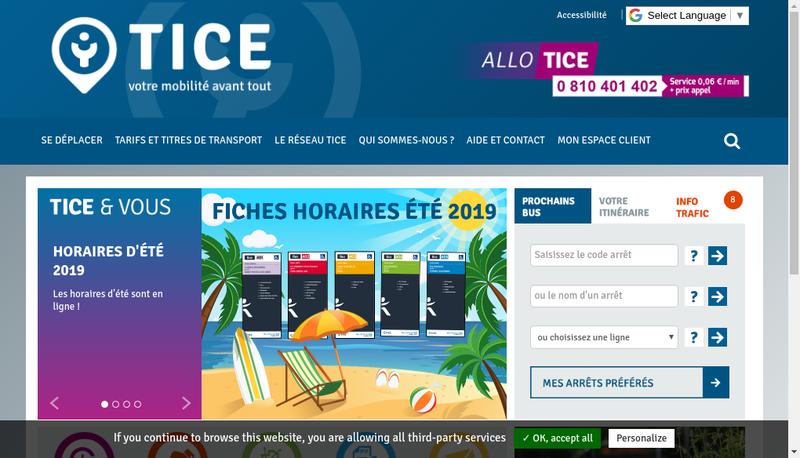 Capture d'écran du site de Transports Intercommunaux Centre Essonne