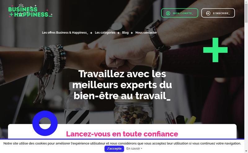 Capture d'écran du site de Business & Happiness