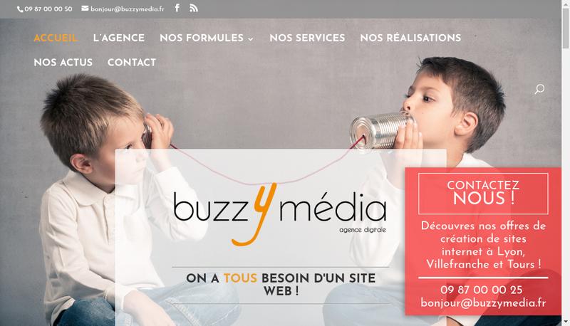 Capture d'écran du site de Buzz Y Media