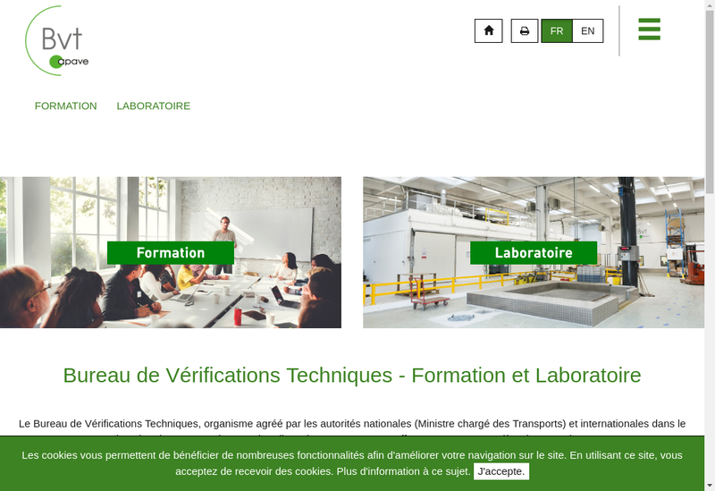 Capture d'écran du site de Bureau de Verifications Techniques