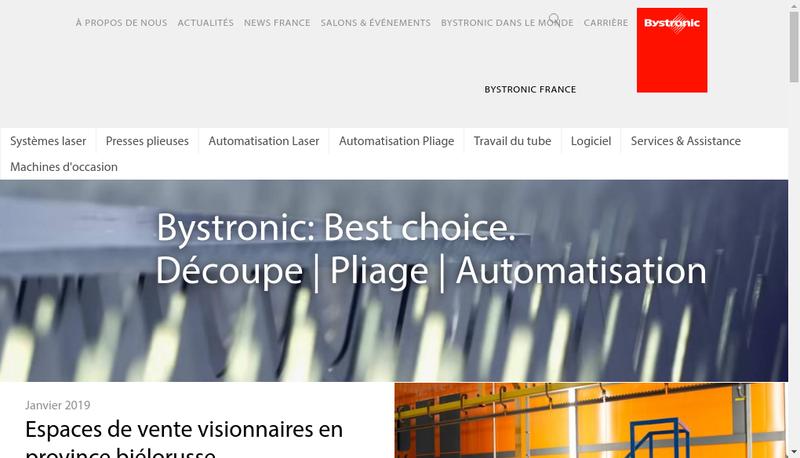 Capture d'écran du site de Bystronic France