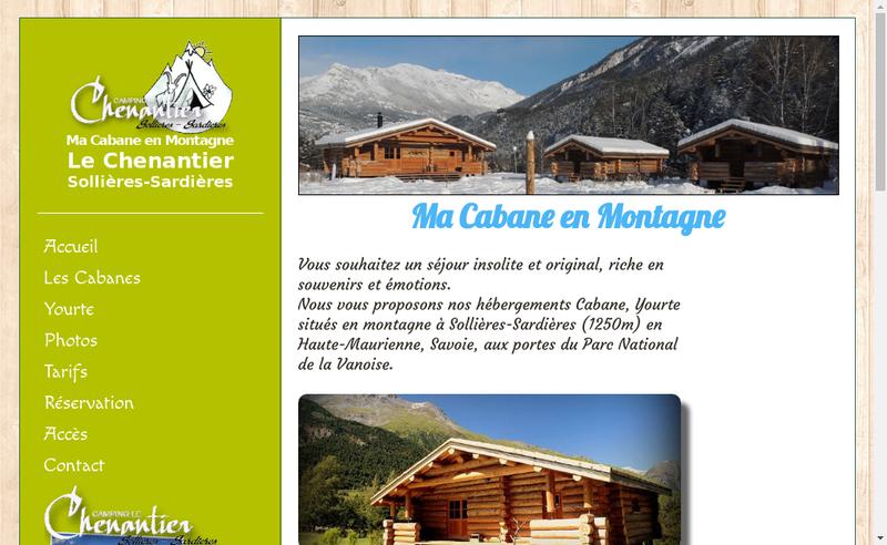 Capture d'écran du site de Ma Cabane de Montagne