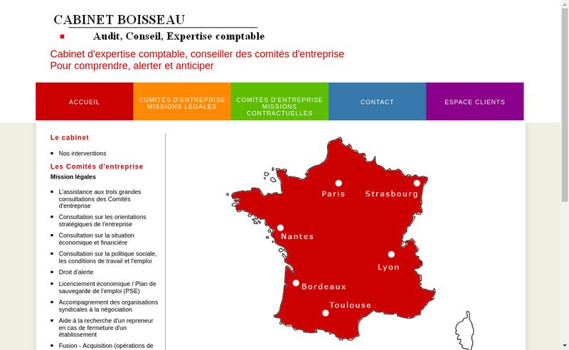 Capture d'écran du site de Cabinet Boisseau