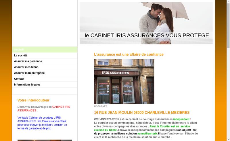 Capture d'écran du site de Iris Assurances