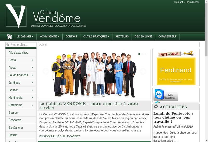 Capture d'écran du site de Cabinet Vendome