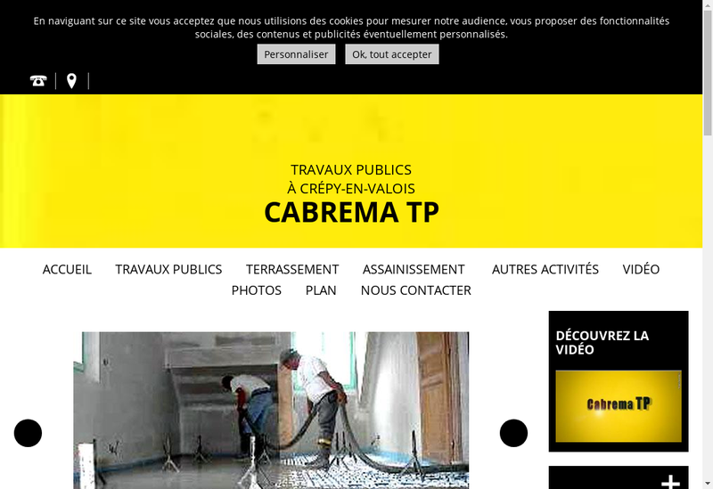 Capture d'écran du site de Cabrema TP