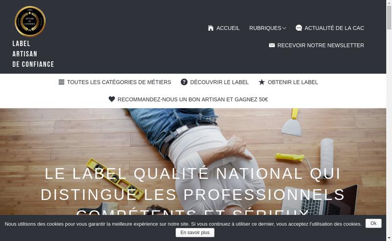 Capture d'écran du site de Artisan de Confiance