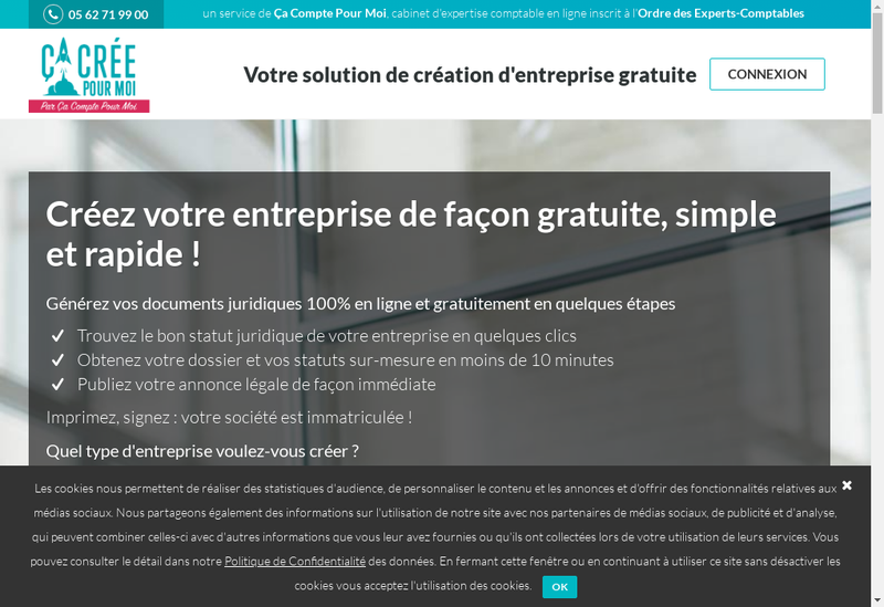 Capture d'écran du site de Ça Crée Pour Moi - cacreepourmoi.fr