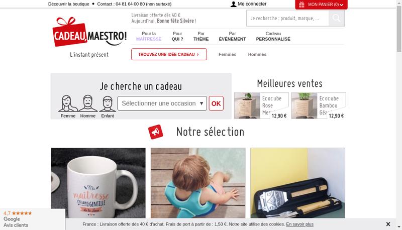 Capture d'écran du site de Cadeau Maestro