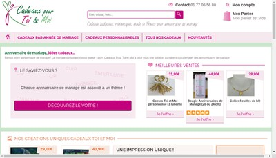 Site internet de Cadeaux pour Toi et Moi