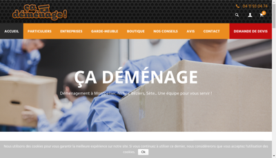 Capture d'écran du site de Cademenage
