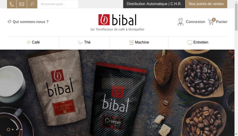 Capture d'écran du site de Cafes Bibal