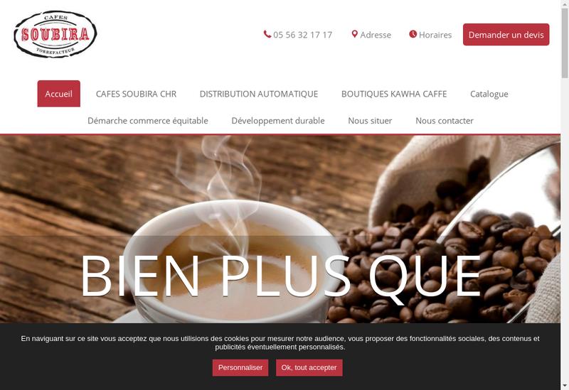 Capture d'écran du site de Cafes Soubira