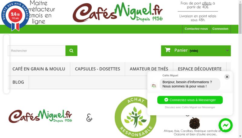 Capture d'écran du site de Cafes Miguel Caffeo
