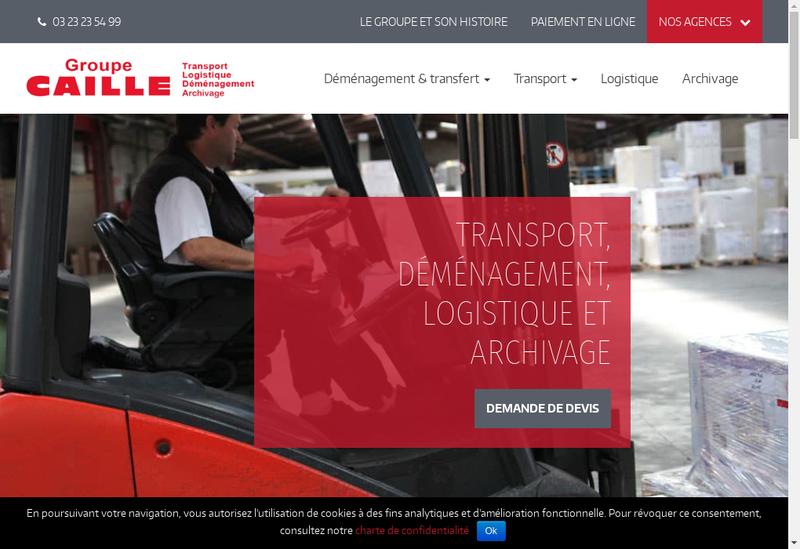 Capture d'écran du site de SAS Caille Logistique