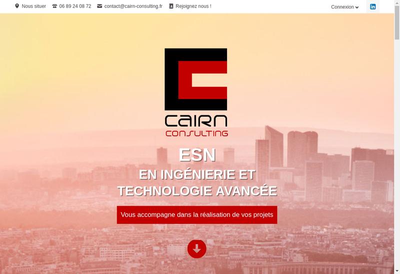 Capture d'écran du site de Cairn Consulting