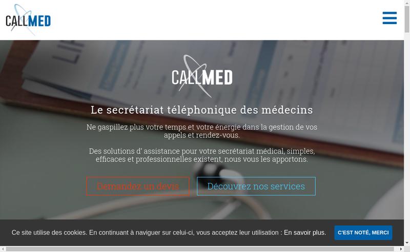 Capture d'écran du site de Callmed