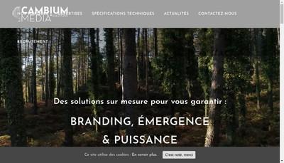 Site internet de Cambium Media Solutions et Regie Mp