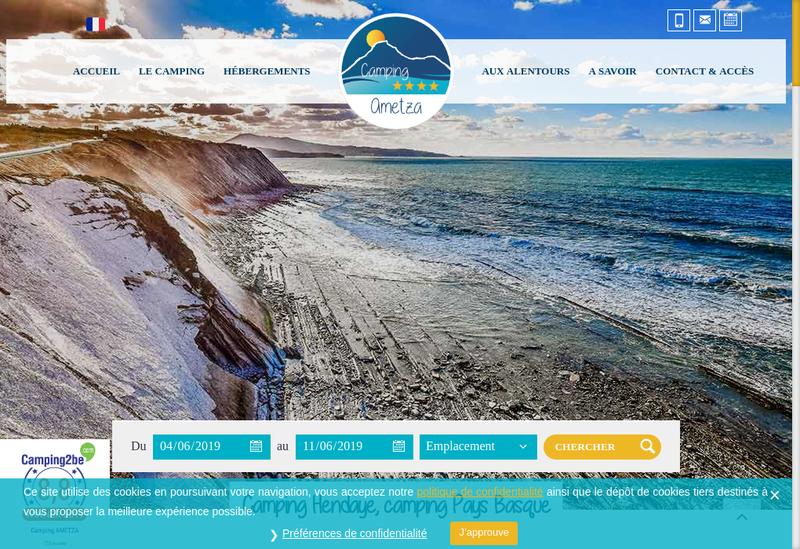 Capture d'écran du site de Camping Ametza