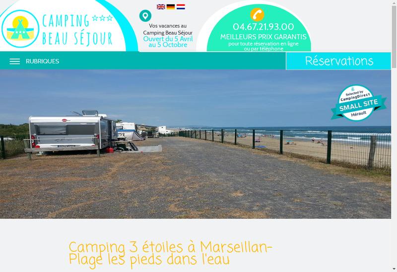 Capture d'écran du site de Camping Beau Sejour