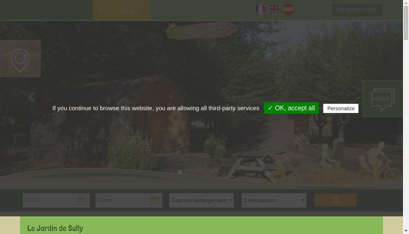 Capture d'écran du site de Le Jardin de Sully