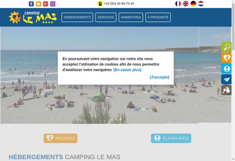Capture d'écran du site de Camping le Mas