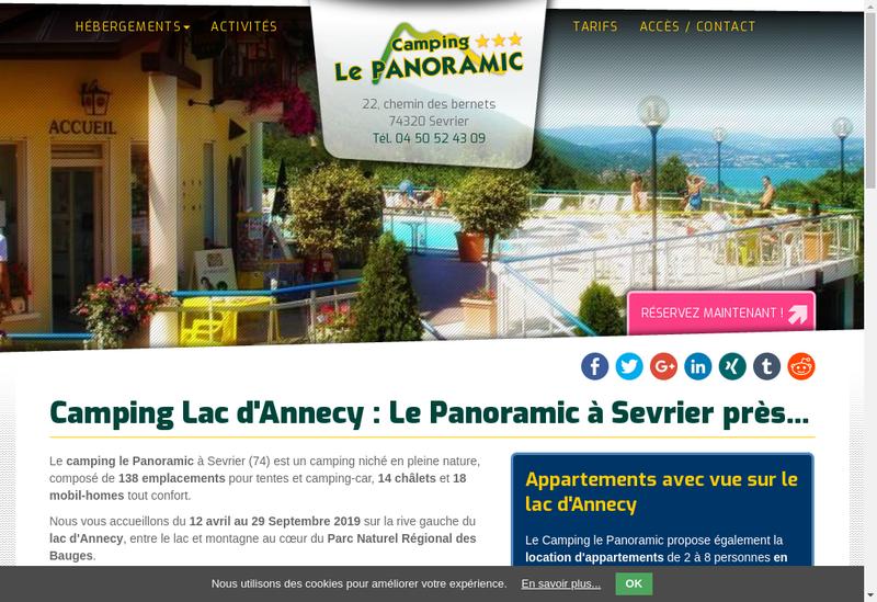 Capture d'écran du site de Camping le Panoramic