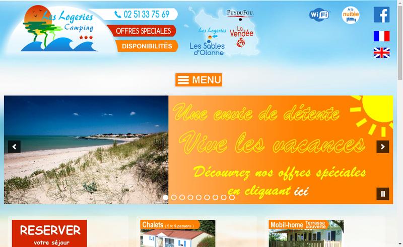 Capture d'écran du site de Camping les Logeries