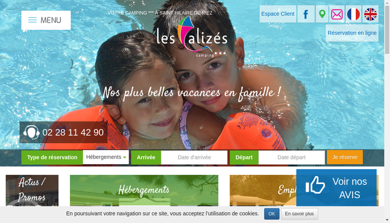 Capture d'écran du site de Camping les Alizes