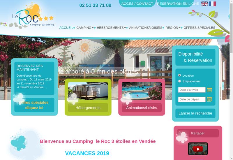 Capture d'écran du site de Camping le Roc