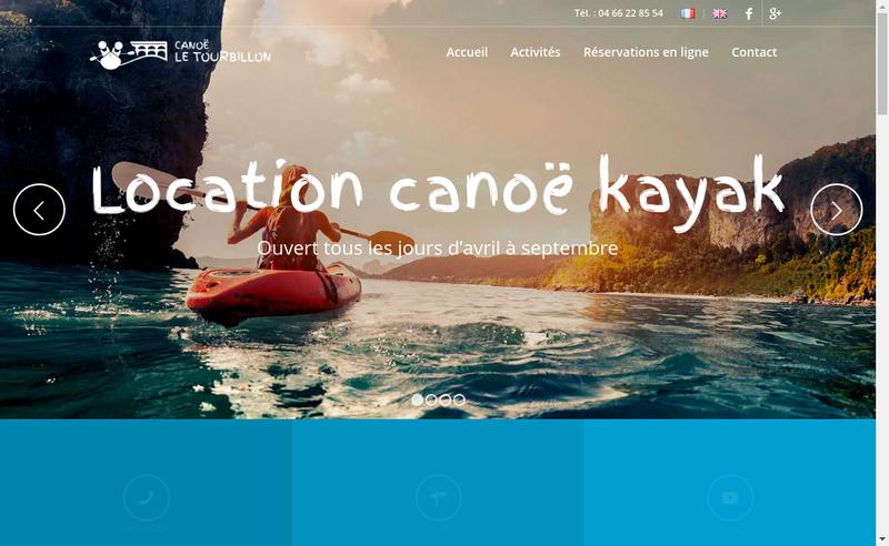 Capture d'écran du site de Canoe le Tourbillon
