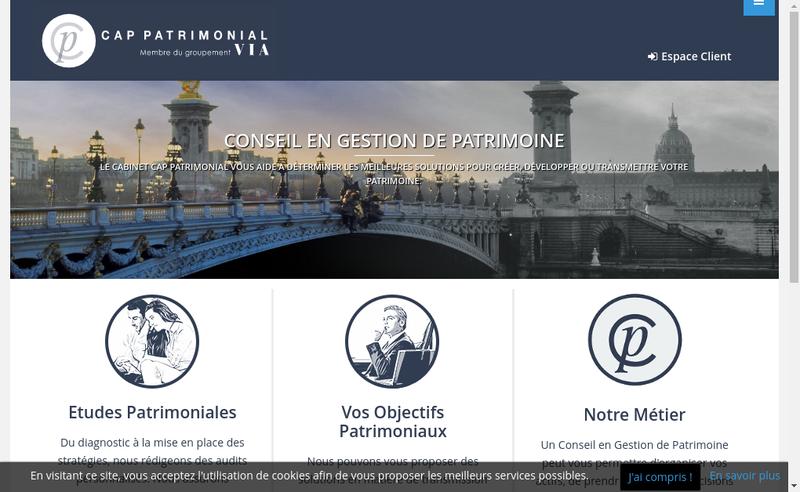Capture d'écran du site de Cap Patrimonial