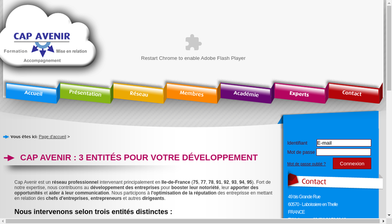 Capture d'écran du site de Cap Avenir Réseau