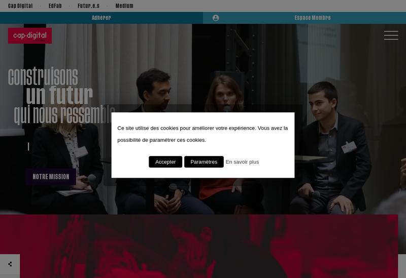 Capture d'écran du site de Cap Digital