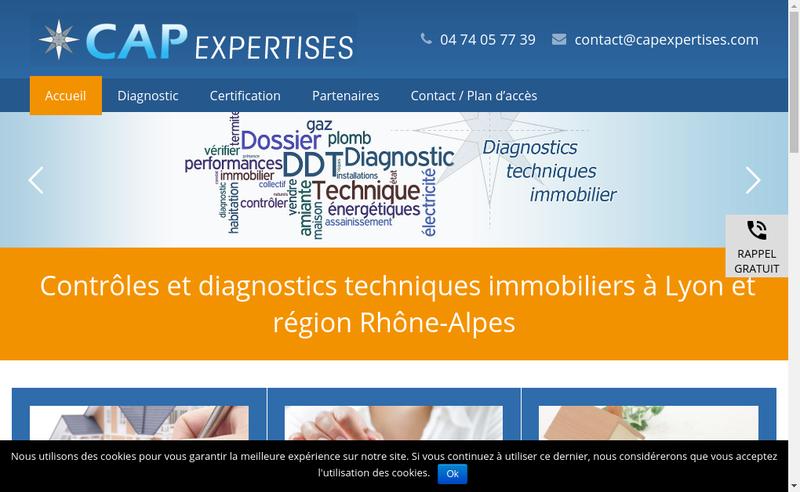 Capture d'écran du site de Cap Expertises