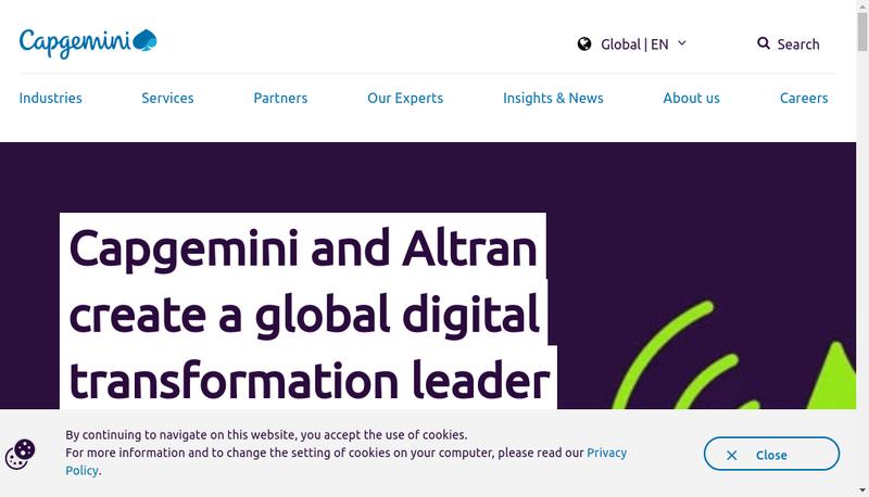 Capture d'écran du site de Capgemini Consulting
