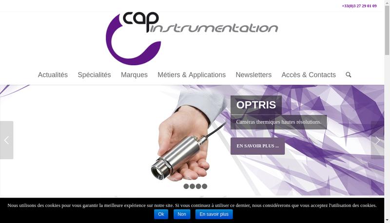 Capture d'écran du site de Cap Instrumentation