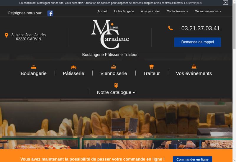 Capture d'écran du site de Boulangerie Patisserie Caradeuc
